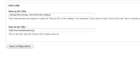 Screen shot of customize options for Give to KU