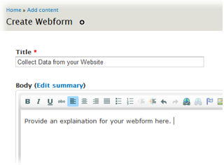 Webform title and body screenshot