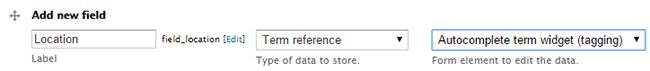 Add Location field, select term reference and autocomplete