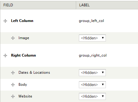Add a Right Column group