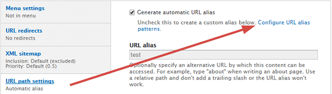 Configure URL alias patterns
