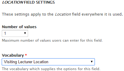 Location Field settings - select your taxonomy