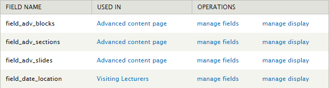 Field Collection screen - click on manage fields
