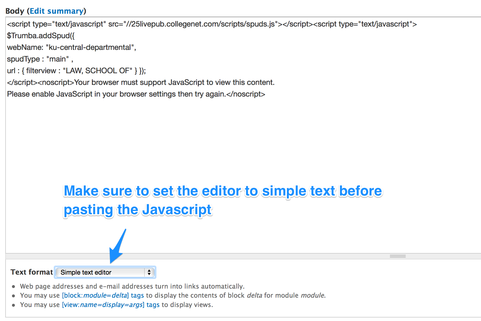 Make Sure To Change The Text Format Below Area Simple Or Plain Once Youve Switched Paste Javascript You Have Copied